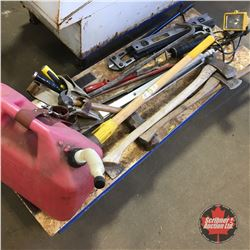 Pallet Lot: Variety Tools (Sledge Hammer, Pick Axe, Grease Gun, Jerry Can, Tool Belt, Bolt Cutters,