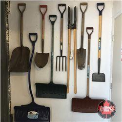 Group of Long Handle Tools - Shovels, Potato Digger, Post Hole Digger, Spade
