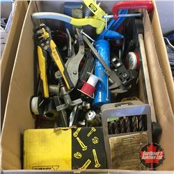 Box Lot: Clamps, Riveter, Puller, Wire Cutters, etc