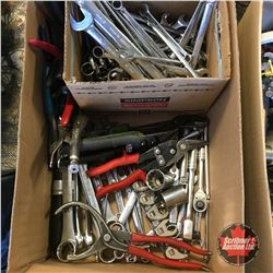 Box Lot: Wrenches, Ratchets, Tin Snips, Vise Grips, Pliers, etc