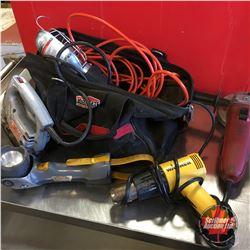 Combo : Heat Gun, Trouble Light, Jig Saw, Angle Grinder, Flashlight / Bag