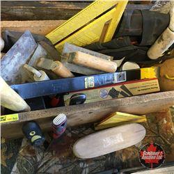 Box Lot: Masonry Tools, Flooring Insulation Kit, Pry Bar, etc