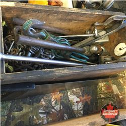 Box Lot: Block & Tackle, Hammer, Swing Arm, Clamps, Punches, etc