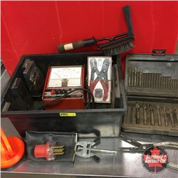 Plastic Bin Lot - Variety Tools : Drill Bits, Snap Ring Pliers, Snap On Tach Dwell, Suction Cup, Den