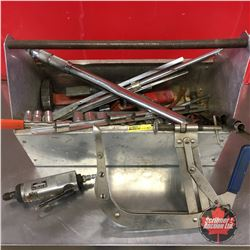Metal Tool Box w/Contents: Valve Spring Comp., Torque Wrench, Die Grinder, Sockets, etc