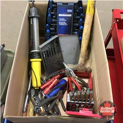 Box Lot - Variety Tools : Pliers, Side Cutters, T Handle Allen Keys (Metric), Trouble Light, etc