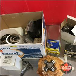 Box Lot: Variety of U Joints, Ball Joints & Shims, etc