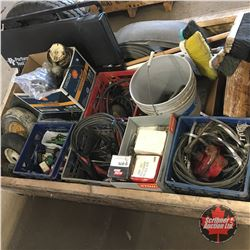 Crate Lot: Large Variety Auto Parts, Banding Filters, Hooks, Clevis, Brooms, Belting, etc