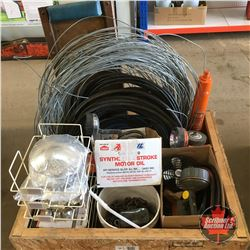 Crate Lot: Variety : Wire, Hose, Brake Line, Truck Hub Caps, Tire Chains, Creeper, etc