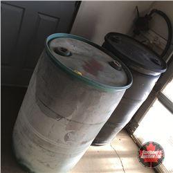 2 - 45 Gallon Plastic Drums & Pump