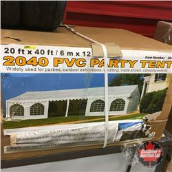NEW SURPLUS: 20' x 40' Event Tent C/W: 18 removable side walls with PVC clear windows, two zipper do
