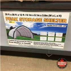 NEW SURPLUS: 20' X 30' X 12' Peak Ceiling Storage Shelter  C/W: Commercial fabric, roll up door