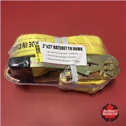 "NEW SURPLUS: 2"" x 27' Ratchet Tie Down"