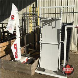 Crate Lot: Store Display Racks (Swivel, Clothing, H-Rack & Multi Purposes) 5 Racks