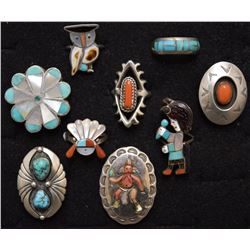 NAVAJO INDIAN RINGS  NINE TOTAL