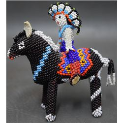 ZUNI INDIAN BEADED HORSE AND RIDER