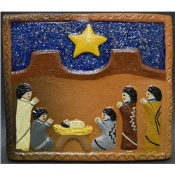 NAVAJO INDIAN POTTERY TILE (ELIZABETH MANYGOATS)