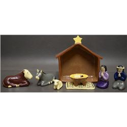 NAVAJO INDIAN POTTERY NATIVITY SET ( ELIZABETH MANYGOATS)
