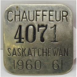 1960-1961 SASKATCHEWAN CHAUFFER BADGE
