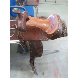 "WESTERN SADDLE, 15"" W/STIRRUPS"