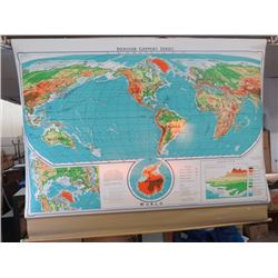 WORLD SCHOOL MAP 1966 LAND ELEVATIONS