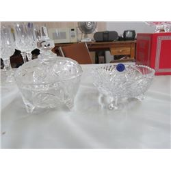 2 PINWHEEL CRYSTAL FOOTED CANDY DISHES