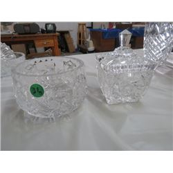2 DISHES, 1 W/LID LEADED CRYSTAL
