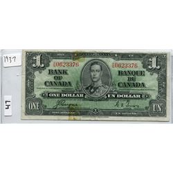1937 CNDN ONE DOLLAR BANK NOTE, COYNE/TOWERS