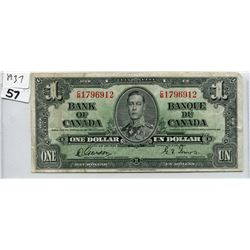 1937 CNDN ONE DOLLAR BANK NOTE, GORDON/TOWERS
