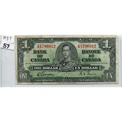 1937 CNDN ONE DOLLAR BANK NOTE, GORDON/TOWERS