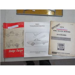 3 MANUALS - DODGE FARGO TRUCK, 63 T-BIRD, 1974 GMC WIRING