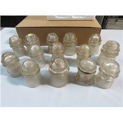 13 INSULATORS, DOMINION GLASS SOME CHIPS