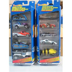 HOT WHEELS, 2 PKGS OF 5, SNOW PLOW VEHICLES AND OCEAN VEHICLES