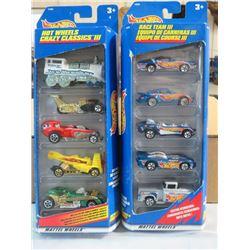 HOT WHEELS, 2 PKGS OF 5 (4 CARS, 1 TRUCK, 1 TRAIN ENGINE, 4 RACE CARS)