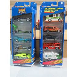 HOT WHEELS, 2 PKGS OF 5, CITY CENTRE AND MAX STEEL VEHICLES