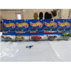 HOT WHEELS, PKG OF 5, (4 CARS, 1 CEMENT TRUCK)