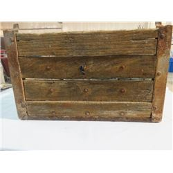 WOODEN POP CRATE HOLDS 12 LARGE BOTTLES, ESTABLISHED