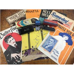 Music lot Harmonicas Pitch Pipe antique sheet music