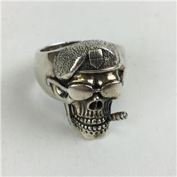 Size 11 925 Sterling silver Biker ring cigar smoking paratrooper