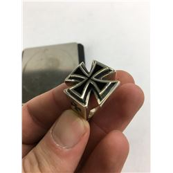 Size 11 925 Sterling Silver Biker ring cImperial cross