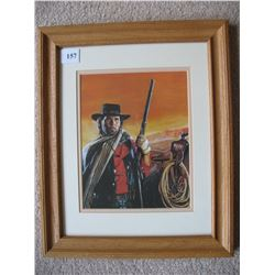 Framed Photo - Cowboy with Rifle - Frame & Matting 16 1/2 X 13 1/2 inches