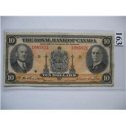 1935 Royal Bank of Canada - $10 Banknote - Ser. # 1085831