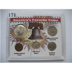 America's Favorite Coins - set of 5 Coins (Cent to the Half Dollar)