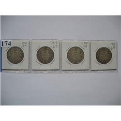 Canadian Silver Half Dollars - Set of 4 - 1916,  1917,  1918,  1919