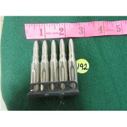 5- MILITARY 303 CAL. DUMMY TRAINING ROUNDS AND STRIP CLIP. WWII ISSUE