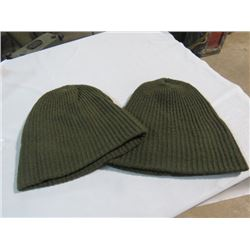 2 CANADIAN ARMY GREEN WOOL WINTER TOQUES