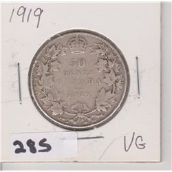 1919 CNDN SILVER 50 CENT PC
