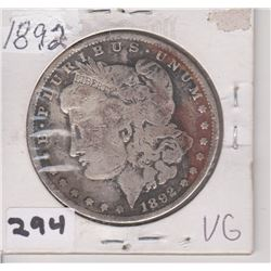 1892 US MORGAN SILVER DOLLAR