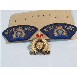 RCMP SHOULDER FLASHES AND CAP BADGE
