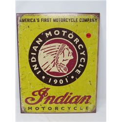 INDIAN MOTORCYCLE SIGN, METAL, REPRODUCTION, 10X12.5